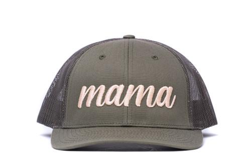 Mama (3D Puff) - Trucker Hat - Peach/Olive