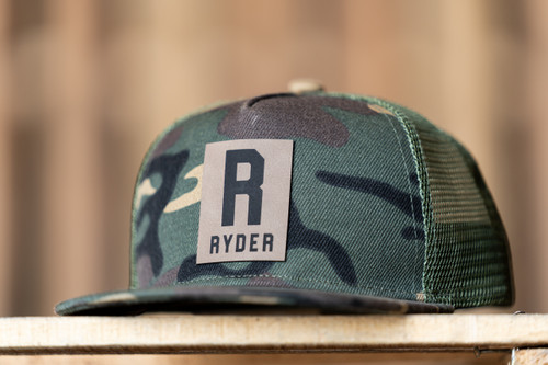 RYDER (Leather Custom Name Patch) - Kids Trucker Hat - Camo