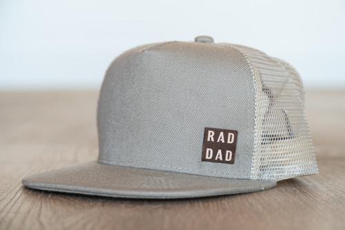 Rad Dad (Leather) - Trucker Hat- Khaki/Khaki