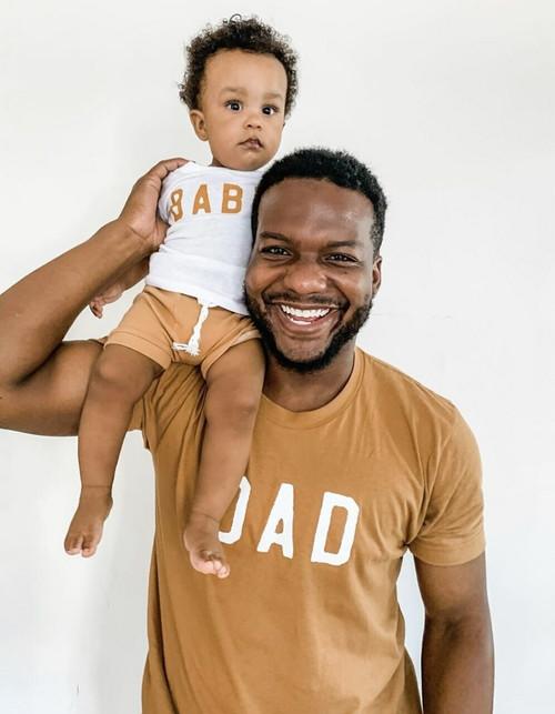 Dad + Babe - Camel Tee & White Bodysuit - Set