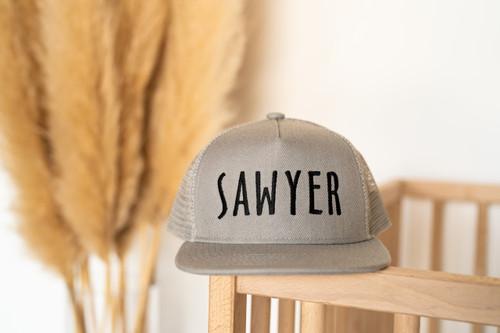SAWYER (Custom Embroidered) - Kids Trucker Hat - Light Gray