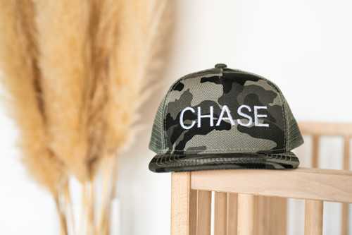 CHASE (Custom Embroidered) - Kids Trucker Hat - Charcoal Camo