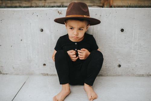 Kids Flat Brim Hat - Dark Brown