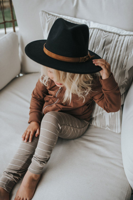 Kids Flat Brim Hat - Black