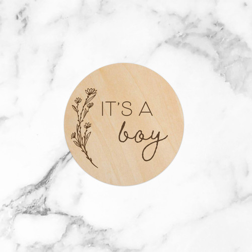 """(Blossom) It's a Boy (Gender Reveal) - 5"""" Wooden Disc"""
