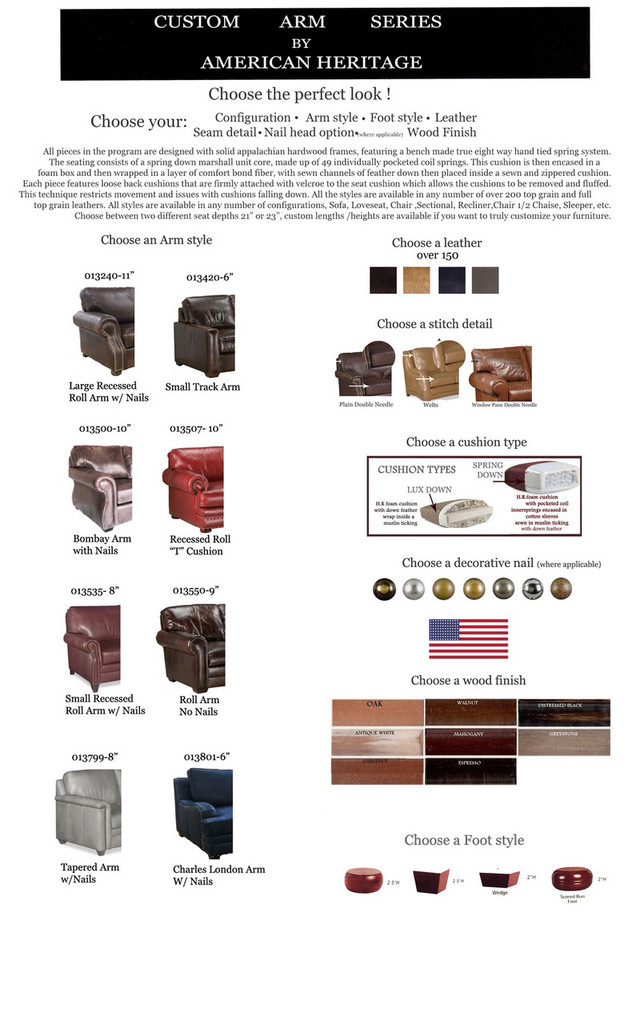 American Heritage Custom Arm Sofa Brochure