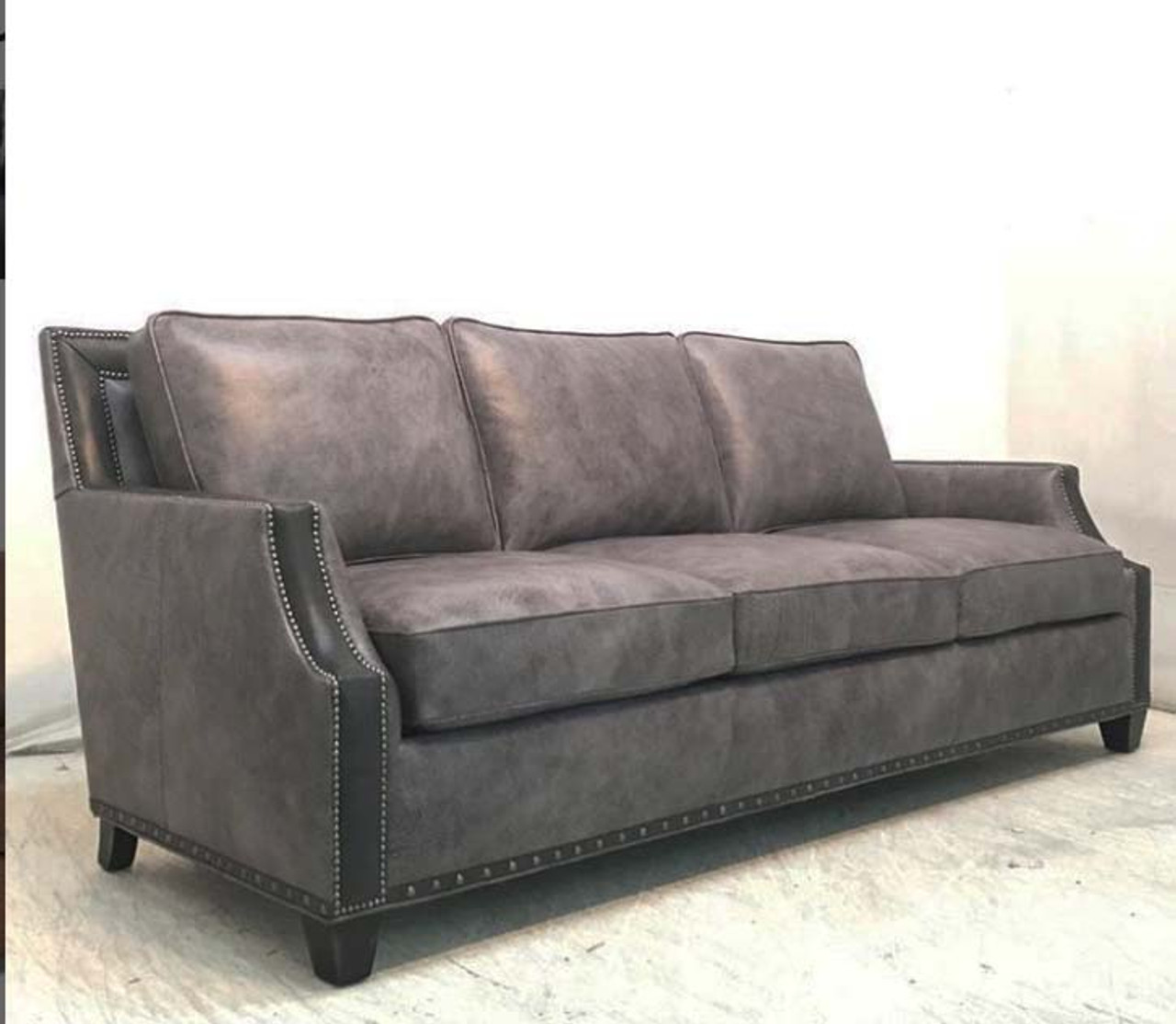 American Heritage Leather Furniture: Maddox Leather Sofa , American Heritage Custom Leather