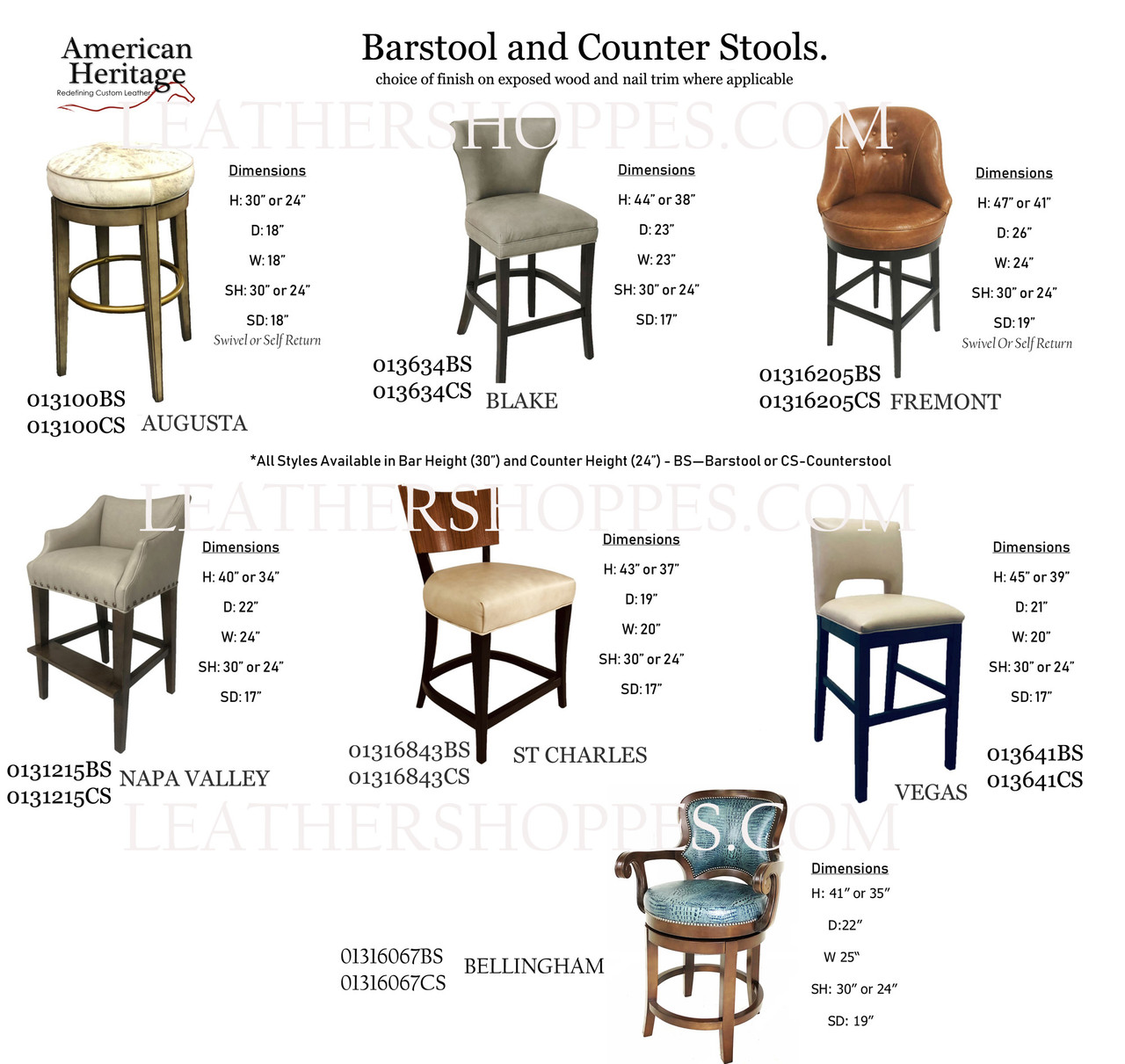 Bar And Counter Stools American Heritage Custom Leather Made In The Usa Leathershoppes Com
