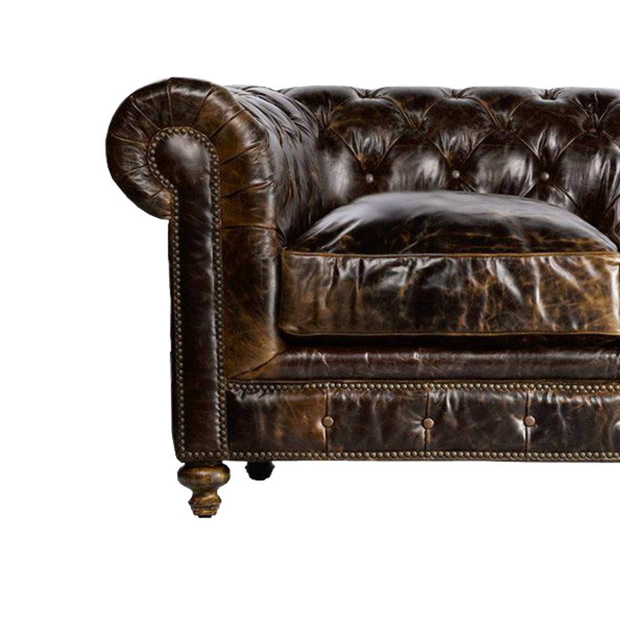 Cigar Tufted Leather Chesterfield Chair Leathershoppes Com