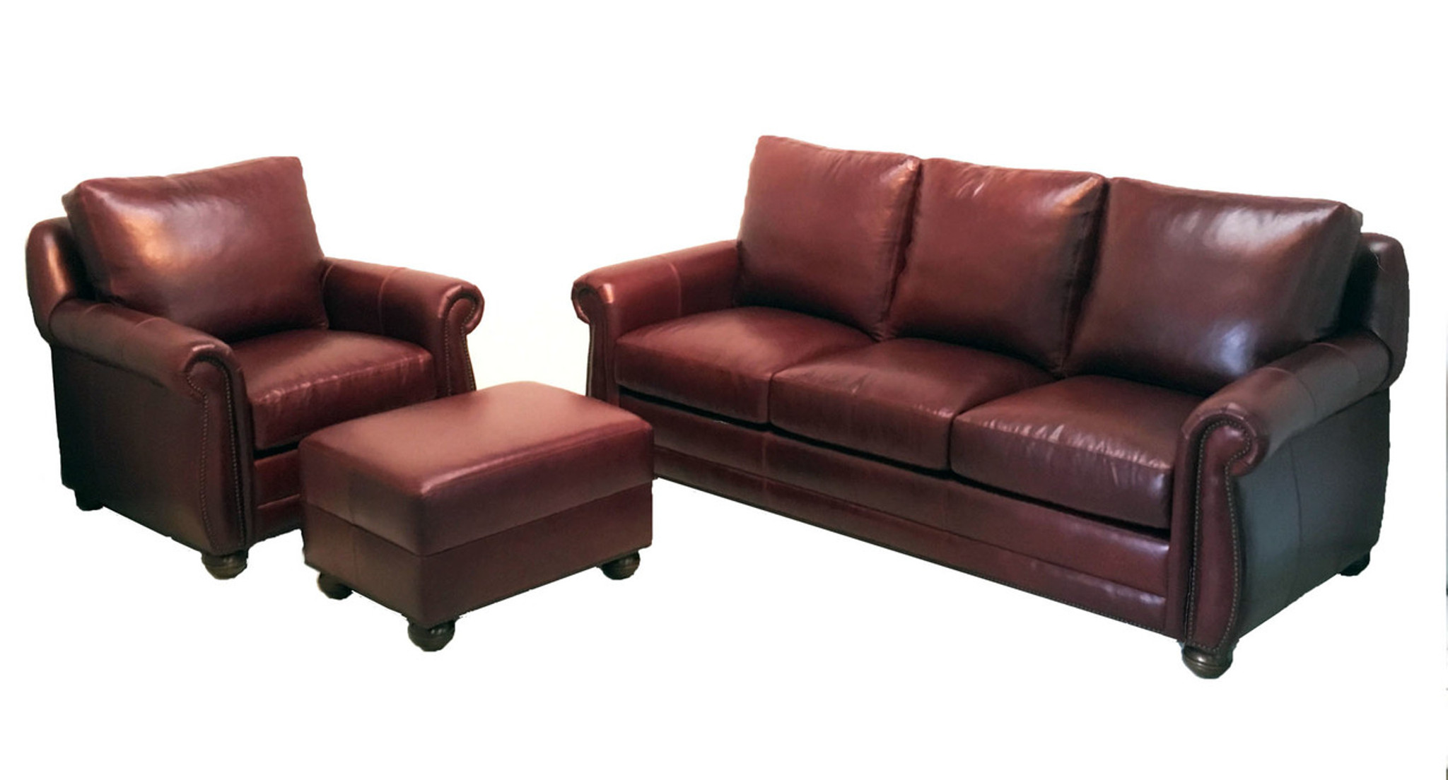Palmer Leather Sofa, American Heritage Custom Leather-Made in the USA