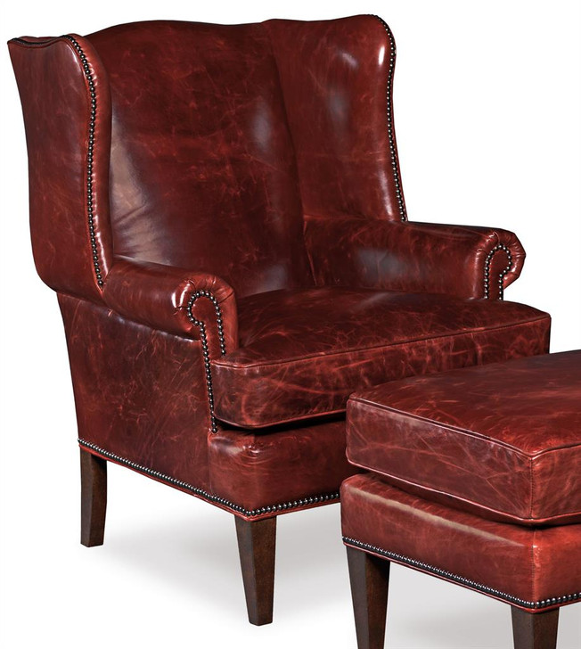 Hooker-CC408 Red Leather Wing Back Chair