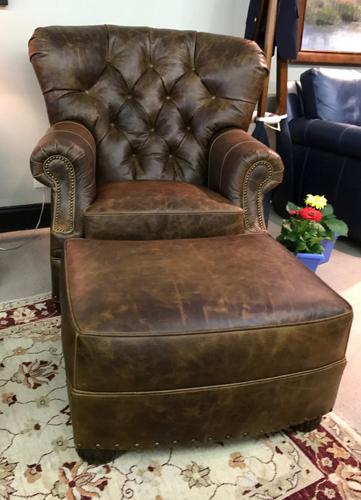 American Heritage Birmingham Barrel Tufted Chair and Ottoman-20% off