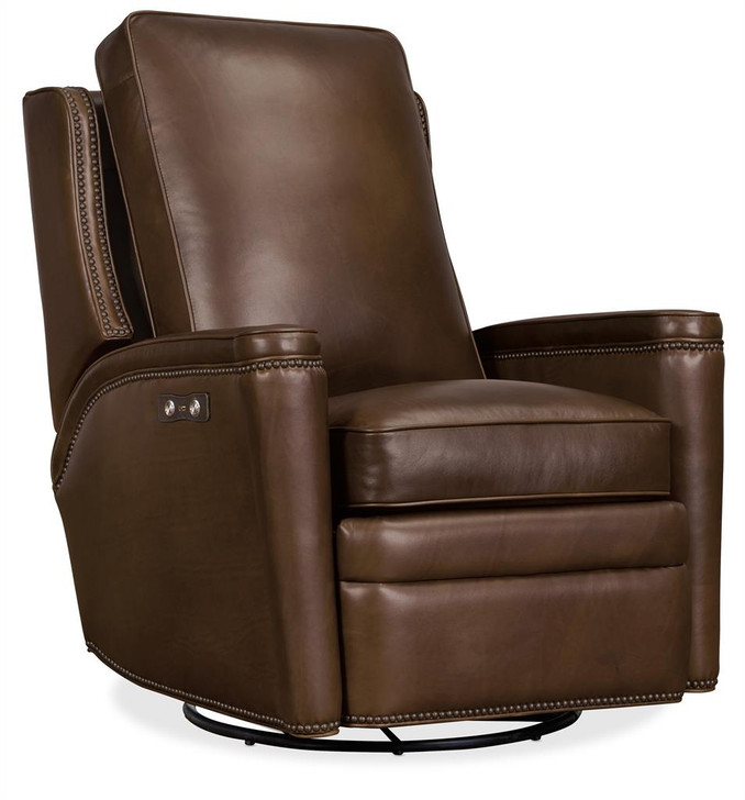Hooker-Leather Power Seat/Swivel Recliner RC216PSWGL-088
