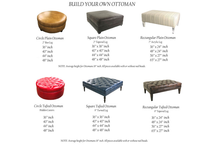 Build Your Own Ottoman American Heritage Custom Leather Made In The Usa Leathershoppes Com