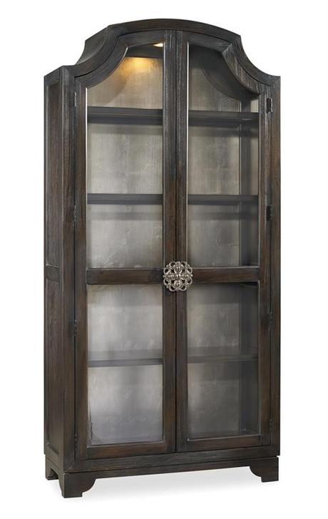 Hooker Furniture Living Room Sanctuary Glass Bunching Curio-Ebony Antiqued Oak