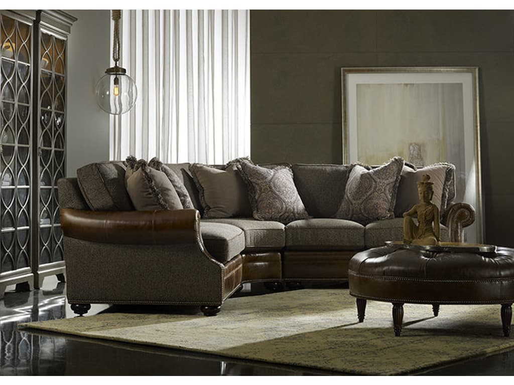 220 Amr Warner Sectional Leather/Fabric Combo
