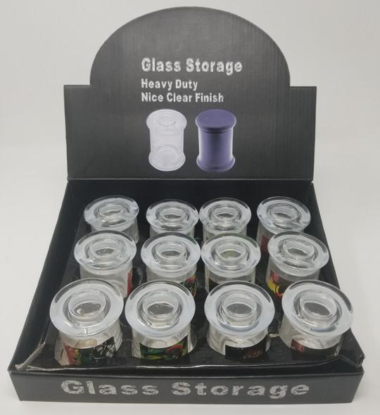 Glass Jar with Sticker on Side