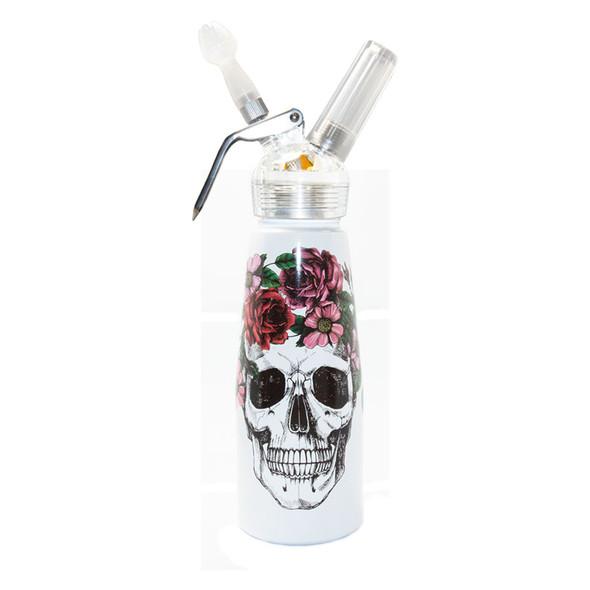 Special Blue Whip Cream Dispenser - 1 Pint - Floral Skull