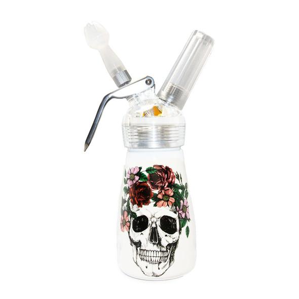 Special Blue Whip Cream Dispenser - 1/2 Pint - Floral Skull