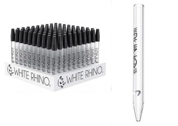 White Rhino Glass Dab Straw Display - 100 Count