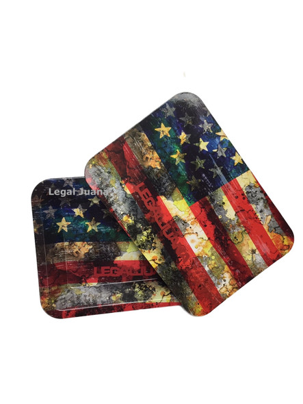 Legal Juana Rolling Tray with Magnetic Cover - American Flag