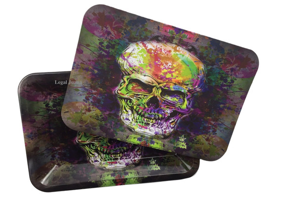 Legal Juana Rolling Tray with Magnetic Cover - Smiling Skull