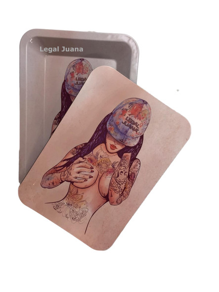 Legal Juana Rolling Tray with Magnetic Cover - Tattoo Girl