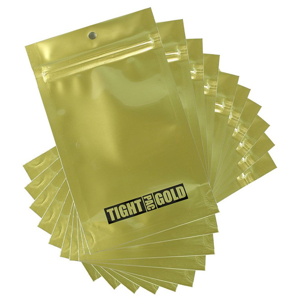 Tight Pac Gold Mylar Bags 100 Count - 1/4oz