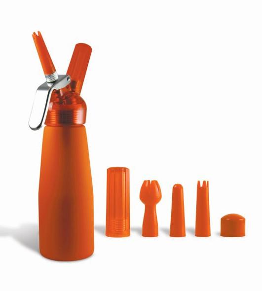 Special Blue Whip Cream Dispenser Metal Head - Half Pint Orange