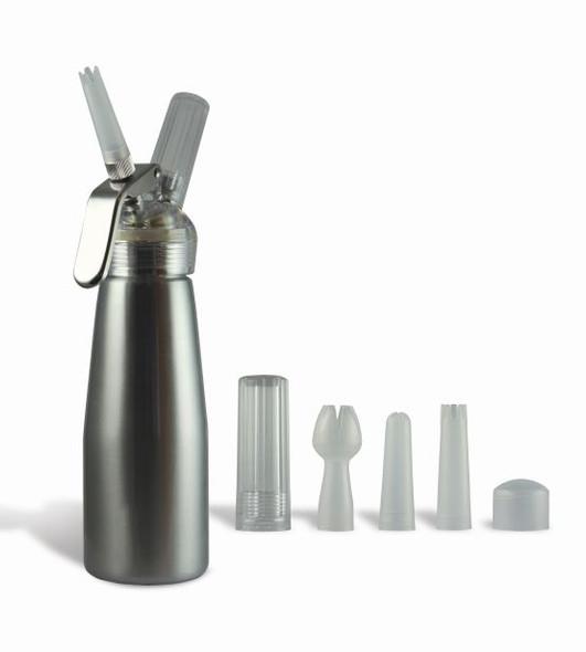 Special Blue Whip Cream Dispenser Metal Head - Half Pint Silver