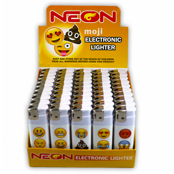 Neon Emoji Lighter - Display of 50