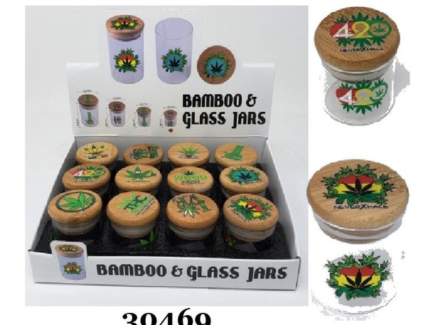 Bamboo & Glass Jars - Small - 12 Count