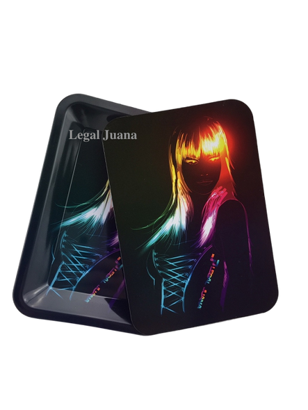 Legal Juana Rolling Tray with Magnetic Cover - Neon Sasha