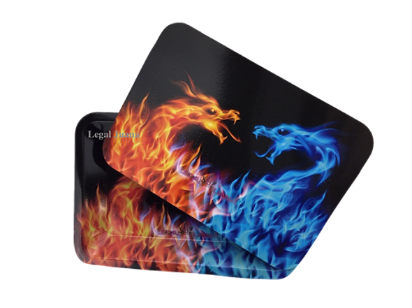 Legal Juana Rolling Tray with Magnetic Cover - Fire Dragons