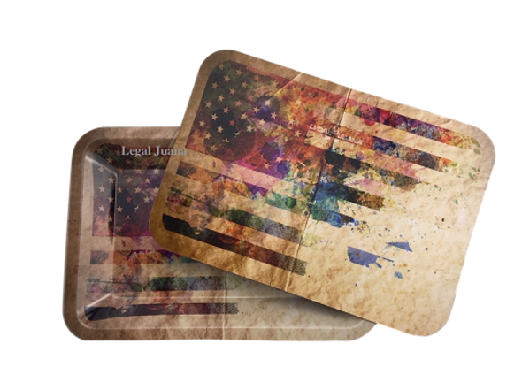 Legal Juana Rolling Tray with Magnetic Cover - Distressed Flag