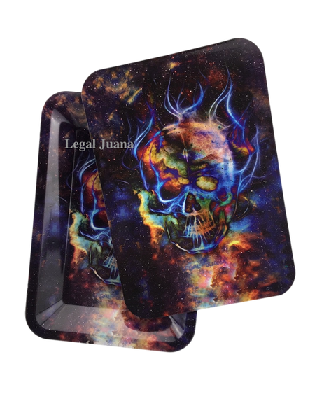 Legal Juana Rolling Tray with Magnetic Cover - Fractured Skull
