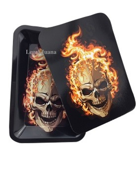 Legal Juana Rolling Tray with Magnetic Cover - Flaming Skull