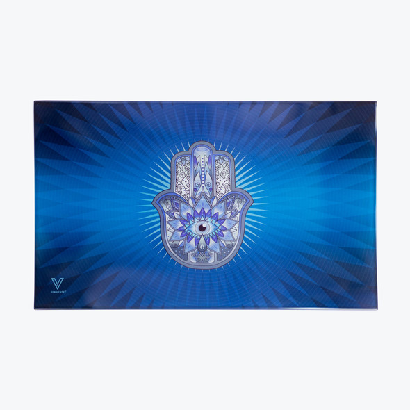 V. Syndicate Glass Rolling Tray Medium - Hamsa Blue