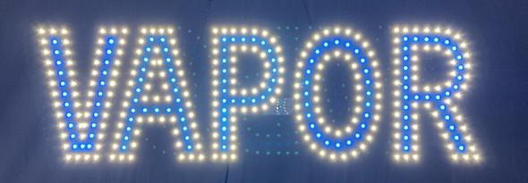 """Vapor Sign - White & Blue - 9"""" x 30"""""""
