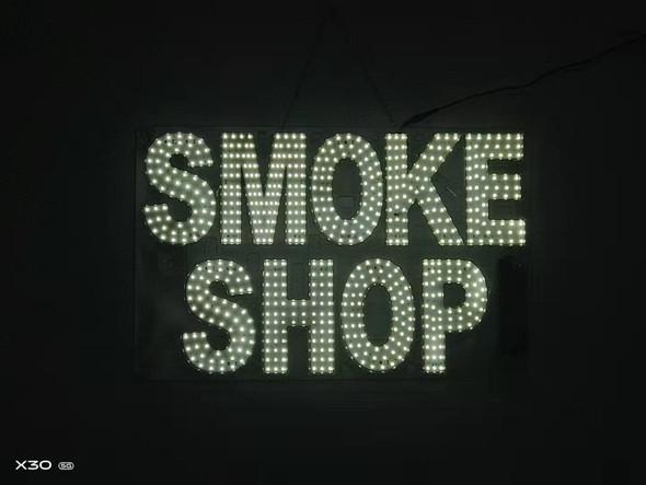 "Smoke Shop Sign - White- 15"" x 24"""