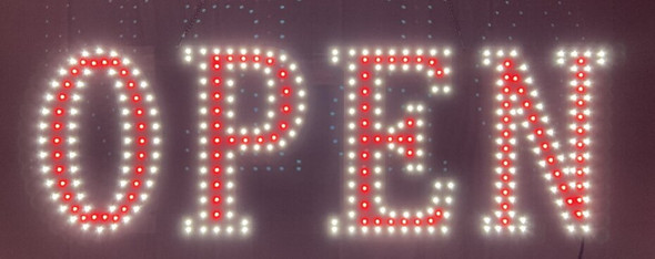 """Open Sign - White & Red - 10"""" x 30"""""""