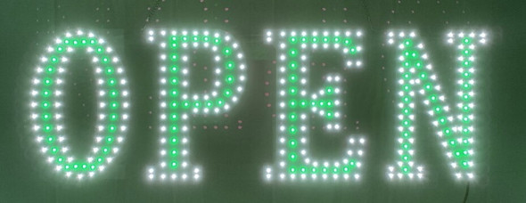 "Open Sign - White & Green - 10"" x 30"""