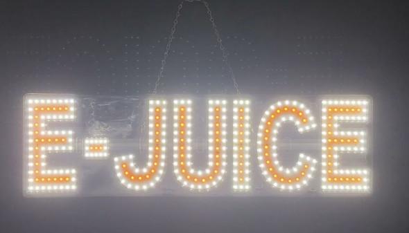 "E Juice Sign - White & Yellow - 8"" x 30"""