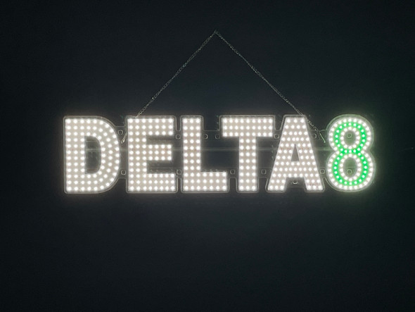 """Delta 8 Sign - White & Green - 7"""" x 30"""""""