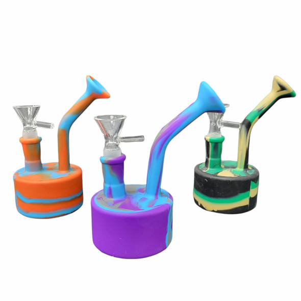 """6"""" Round Neon Silicone Water Pipe"""