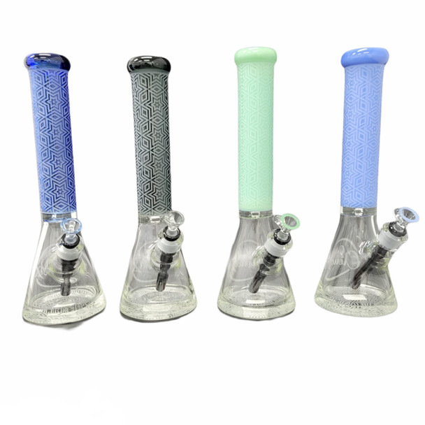 """15"""" Cali Cloud X Thick Beaker with Star Sand Blasted Design"""
