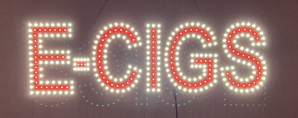 "E Cigs Sign - White & Red - 9"" x 30"""