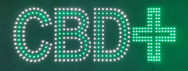 """CBD with Cross Sign - White & Green - 10"""" x 30"""""""