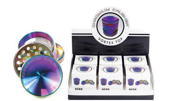 "Rainbow Extra Storage See Through Chromium Crusher Grinder - 2.25"" - 4 Part"