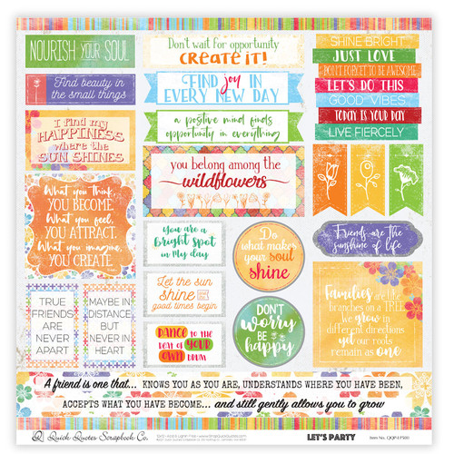 """Let's Party 12"""" x 12"""" Quotes & Phrases"""